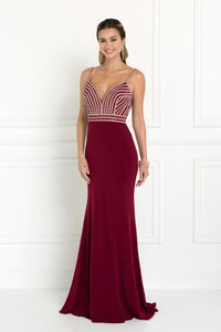 Elizabeth K GL1562 Jersey Mermaid Dress in Burgundy