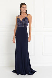 Elizabeth K GL1562 Jersey Mermaid Dress in Navy