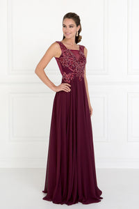 Elizabeth K GL1566 V-Neck A-Line Dress in Burgundy - SohoGirl.com