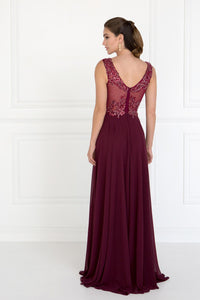 Elizabeth K GL1566 V-Neck A-Line Dress in Burgundy