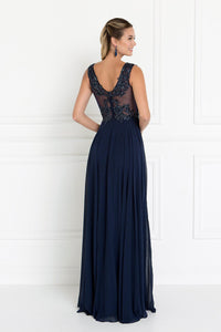 Elizabeth K GL1566 V-Neck A-Line Dress in Navy - SohoGirl.com
