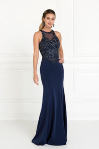 Elizabeth K GL1568 Charmeuse Mermaid Dress in Navy - SohoGirl.com
