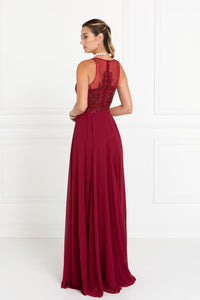 Elizabeth K GL1570 Embroidered Cut Out Dress in Burgundy