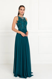 Elizabeth K GL1570 Embroidered Cut Out Dress in Teal - SohoGirl.com