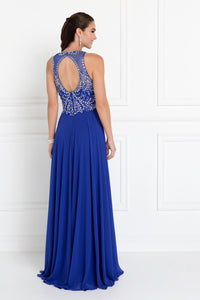 Elizabeth K GL1572 Chiffon Rhinestone Dress in Royal Blue