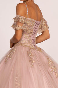 Elizabeth K GL2510 Quinceñera Off The Shoulders Dress in Mauve