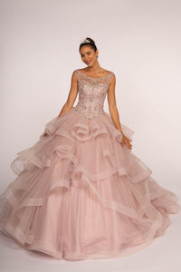 Elizabeth K GL2517 Illusion Sweetheart Tulle Dress - Mauve