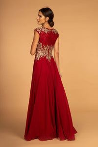 Elizabeth K GL2519 Embroidered Lace Dress in Burgundy