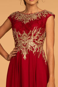 Elizabeth K GL2519 Embroidered Lace Dress in Burgundy - SohoGirl.com