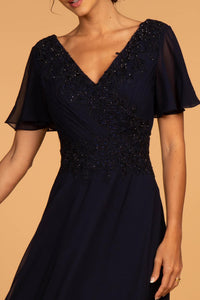 Elizabeth K GL2520 Embroidered Bodice Maxi Dress in Navy
