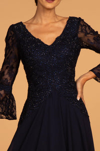 Elizabeth K GL2521 Lace 3-4 Sleeve Dress in Navy - SohoGirl.com