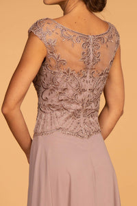 Elizabeth K GL2523 Sweetheart Chiffon Dress in Mauve - SohoGirl.com