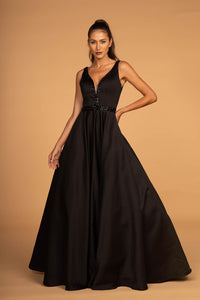 Elizabeth K GL2532 Sleeveless V-Neck Satin Dress - Black