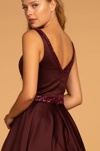 Elizabeth K GL2532 Sleeveless V-Neck Satin Dress - Burgundy - SohoGirl.com