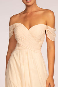 Elizabeth K GL2550 Off the Shoulder Dress - Champagne