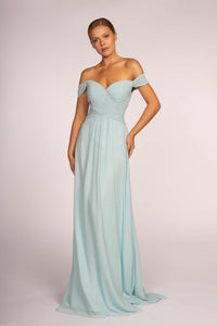 Elizabeth K GL2550 Off the Shoulder Dress - Silvery Blue