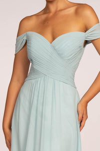 Elizabeth K GL2550 Off the Shoulder Dress - Silvery Blue - SohoGirl.com