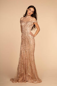 Elizabeth K GL2585 Glitter and Sequin Dress - Rose Gold