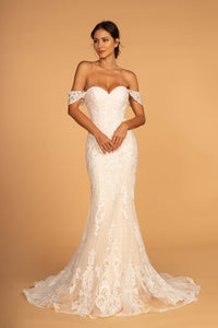 Elizabeth K GL2591 Cut-Away Shoulder Wedding Dress - Ivory-Champagne - SohoGirl.com