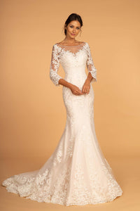Elizabeth K GL2592 Illusion Sweetheart Wedding Dress - Ivory-Cream