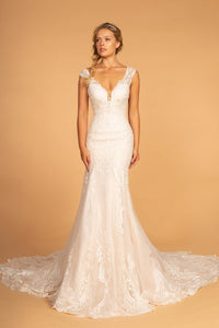 Elizabeth K GL2595 V-Neck Sleeveless Wedding Dress - Ivory-Cream