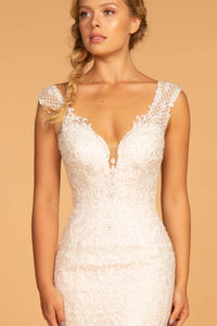 Elizabeth K GL2595 V-Neck Sleeveless Wedding Dress - Ivory-Cream - SohoGirl.com