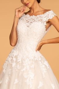 Elizabeth K GL2596 Floral Embellished Wedding Dress - Ivory-Cream - SohoGirl.com