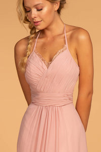 Elizabeth K GL2606 Chiffon Lace Maxi Dress in Dusty Rose