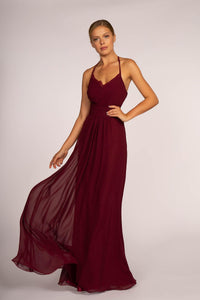 Elizabeth K GL2606 Chiffon Lace Maxi Dress in Wine