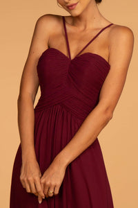 Elizabeth K GL2607 Cut Out Back Dress - Wine