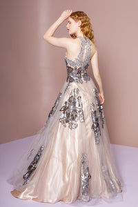 Elizabeth K GL2655 Illusion Sweetheart Open Back Dress in Champagne-Silver - SohoGirl.com
