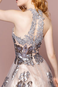 Elizabeth K GL2655 Illusion Sweetheart Open Back Dress in Champagne-Silver