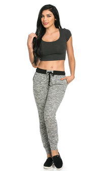 Comfy Banded Drawstring Jogger Pants in Black