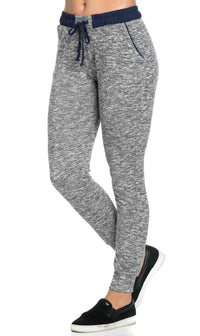 Comfy Banded Drawstring Jogger Pants in Blue