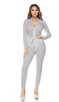 Silver Shimmery Zip-Up Rhinestone Jumpsuit