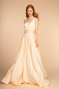 Elizabeth K GL2531 Scoop-Neck Satin Dress in Champagne - SohoGirl.com