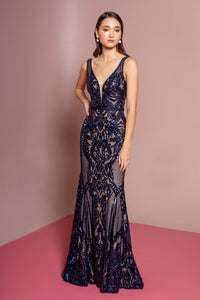 Elizabeth K GL2551 Sequin Mesh V-Neck Mermaid Dress - Navy - SohoGirl.com