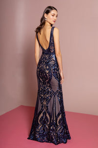 Elizabeth K GL2551 Sequin Mesh V-Neck Mermaid Dress - Navy