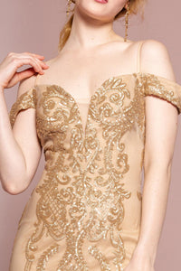 Elizabeth K GL2552 Tulle Sequin Mermaid Dress in Gold