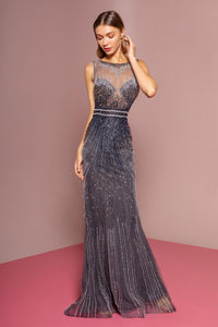 Elizabeth K GL2555 Sleeveless Tulle Dress - Navy-Gray