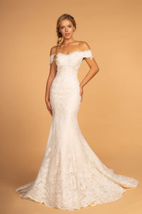 Elizabeth K GL2594 Off the Shoulder Wedding Dress - Ivory-Cream