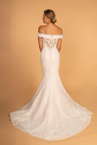 Elizabeth K GL2594 Off the Shoulder Wedding Dress - Ivory-Cream - SohoGirl.com