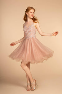 Elizabeth K GS1607 Embroidered Bodice Tulle Short Dress - Mauve - SohoGirl.com