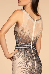 Elizabeth K GL2555 Sleeveless Tulle Dress - Navy- Champagne - SohoGirl.com