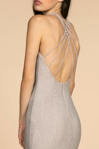 Elizabeth K GL2549 Open-Back Mermaid Long Dress - Silver - SohoGirl.com