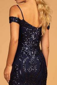 Elizabeth K GL2552 Tulle Sequin Mermaid Dress in Navy - SohoGirl.com