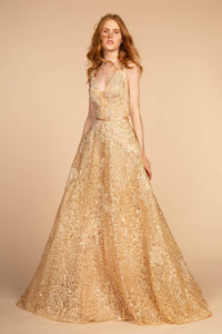 Elizabeth K GL2566 Sleeveless Lace Gown - Champagne