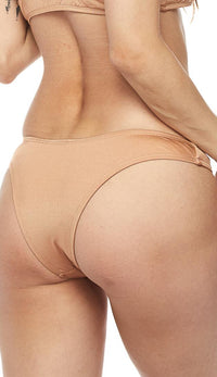 Metallic Low Coverage Cheeky Bottom in Sand