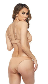 Metallic Low Coverage Cheeky Bottom in Sand - SohoGirl.com