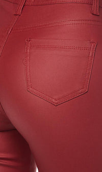 Burgundy Faux Leather Super High Waisted Pants (S-XL)